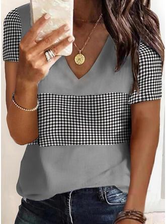 Plaid Print V-Neck Short Sleeves T-shirts