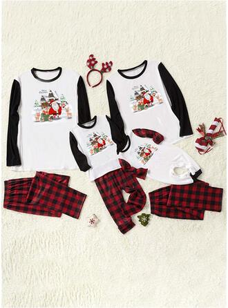 De Kerstman Rendier Plaid Letter Print Voor Gezinnen Kerst Pyjamas