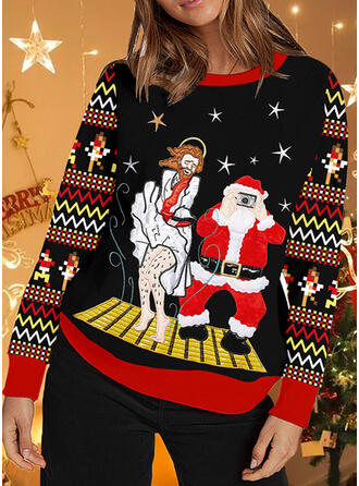 Women's Print Striped Santa Ugly Christmas Sweater