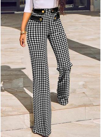 Print Long Casual Button Pants