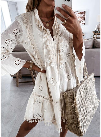 Lace/Solid/Tassel Long Sleeves/Flare Sleeves Shift Knee Length Casual Tunic Dresses
