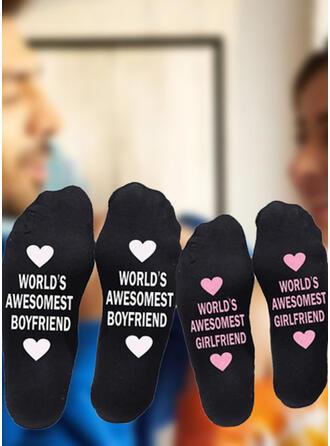 Floral/Letter Comfortable/Crew Socks/Non Slip/Unisex/Valentine's Day Socks (Set of 2 pairs)