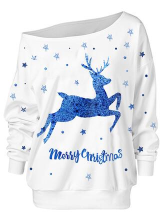 Animal Print Figure One Shoulder Long Sleeves Christmas Sweatshirt