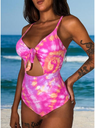 Solid Color Print Strap Tie-Dye One-piece Swimsuits