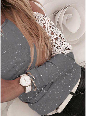 Print Lace Cold Shoulder Long Sleeves Casual Blouses