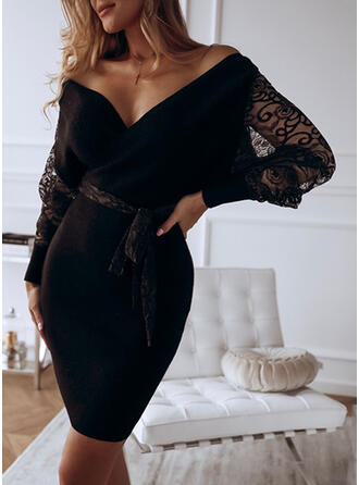 Solid Lace Long Sleeves Sheath Above Knee Little Black/Casual Dresses