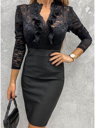 Lace/Solid Long Sleeves Bodycon Knee Length Little Black/Elegant Pencil Dresses