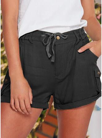 Solid Cotton Casual Vintage Pants Shorts