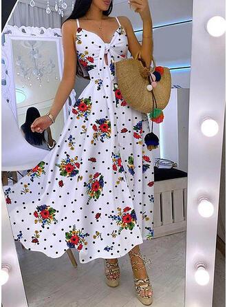 Print/Floral/PolkaDot Sleeveless A-line Slip/Skater Casual Maxi Dresses