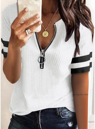 Color Block Striped Knit V-Neck Short Sleeves Casual Blouses