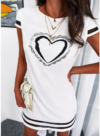 Print/Striped/Heart Short Sleeves Shift Above Knee Casual Tunic Dresses