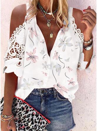 Print Floral Cold Shoulder 1/2 Sleeves Elegant Button Blouses