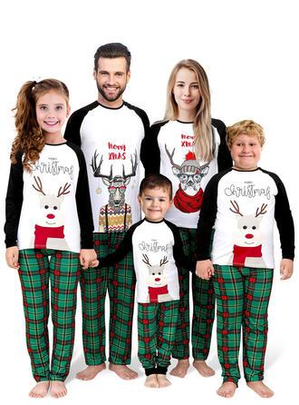 Rendier Kleur-Blok Plaid Letter Voor Gezinnen Kerst Pyjamas