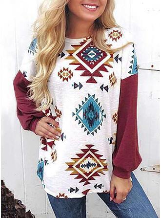 Geometrisch Ronde Hals Lange Mouwen Casual Overhemd