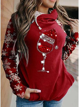 Sequins Pockets Long Sleeves Christmas Sweatshirt