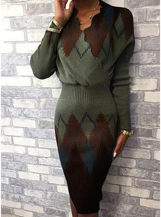 Kleurblok Geometrisch Print V-hals Casual Lang Slanke Sexy Sweaterjurk