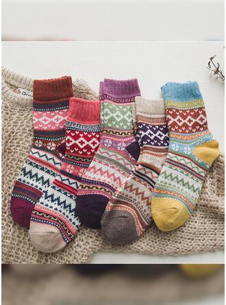 Bloemen/Gestreept/Bohemen/Kleurrijk Warme/Ademend/Crew sokken Sokken (Set van 5 paren)