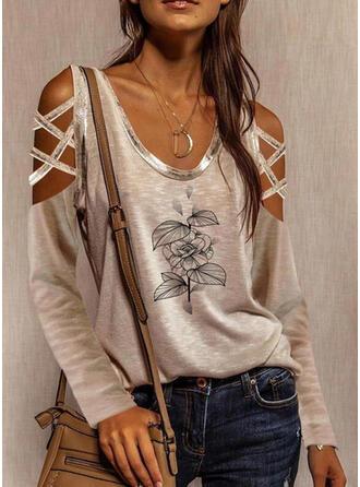 Print Cold Shoulder Lange Mouwen Casual Polka Prik Overhemd