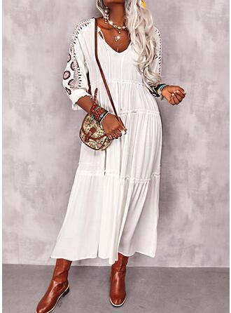 Print 3/4 Sleeves Shift Tunic Casual/Vacation Midi Dresses