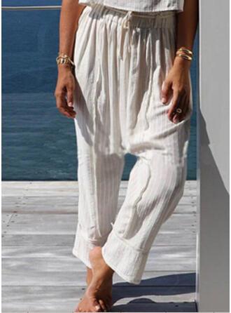 Solide Shirred Grote maat Trekkoord Boho Casual Gewoon Lounge broek
