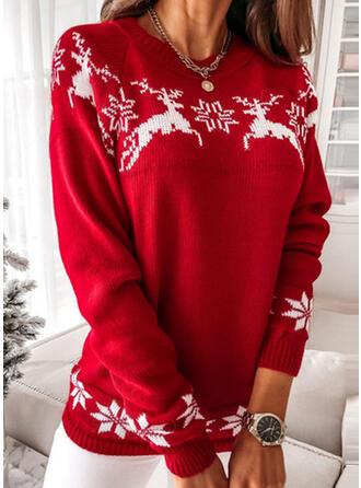 Christmas Print Reindeer Snowflake Round Neck Casual Sweaters