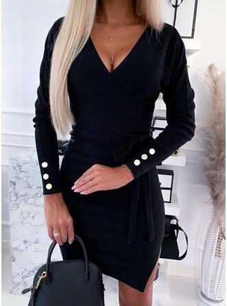 Solide Lange Mouwen Bodycon Boven de knie Zwart jurkje/Casual/Elegant Jurken