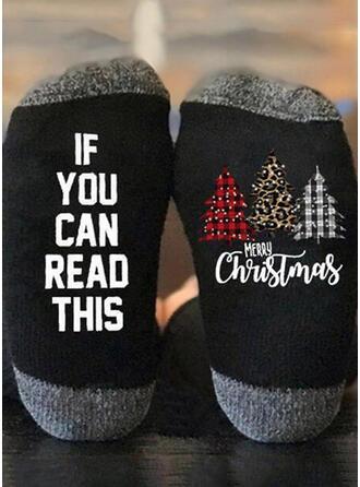 Letter/Print Christmas/Quarter Socks/Unisex Socks