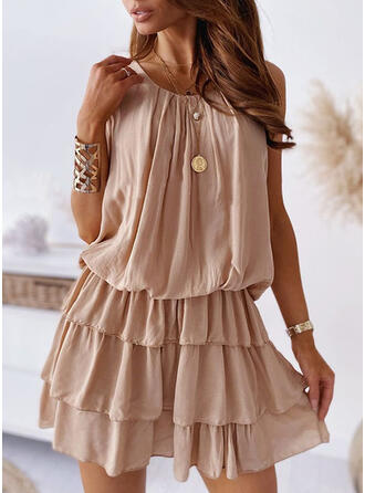 Solid Sleeveless A-line Above Knee Casual Skater Dresses