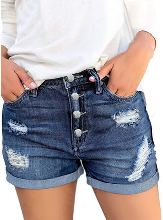 Solid Above Knee Casual Vintage Plus Size Pocket Shirred Ripped Button Pants Shorts Denim & Jeans