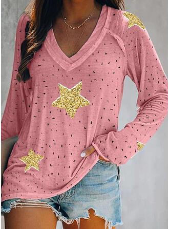 Print Pailletten V-hals Lange Mouwen Casual T-shirts