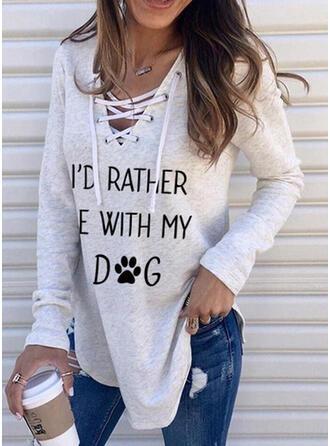 Dierenprint Figuur V-hals Lange Mouwen Sweatshirts