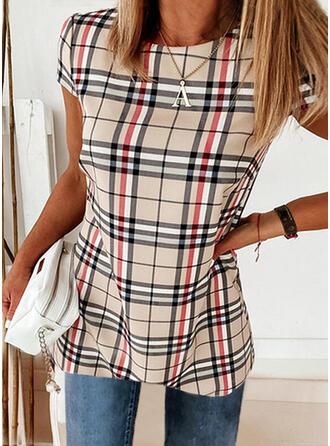 Plaid Round Neck Short Sleeves T-shirts