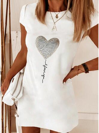 Print/Heart/Letter Short Sleeves Shift Above Knee Elegant Dresses