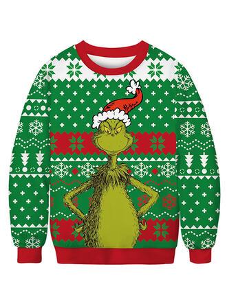 Uniseks katoenblends Print Kerst Sweatshirt