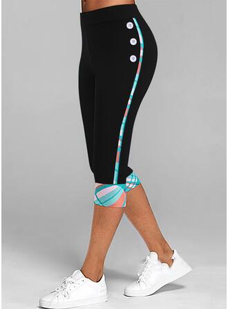 Print Capris Casual Plus Size Button Leggings