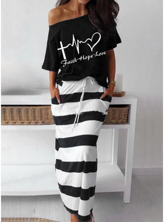 Heart Letter Striped Print Elegant Casual Plus Size Blouse & Two-Piece Outfits Set