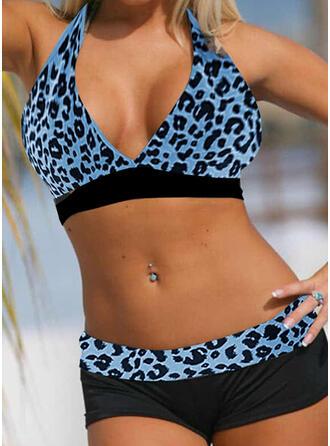 Leopard Dot Strap V-Neck Retro Boho Bikinis Swimsuits
