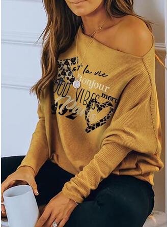Print luipaard Figuur One Shoulder Lange Mouwen Casual Overhemd