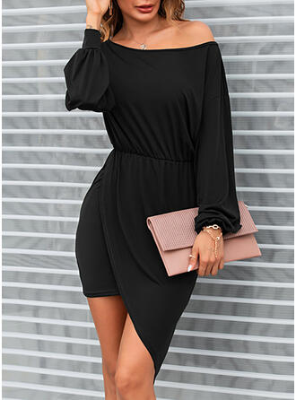 Solide Lange Mouwen/Lantaarn Mouw Bodycon Asymmetrische Zwart jurkje/Casual Jurken