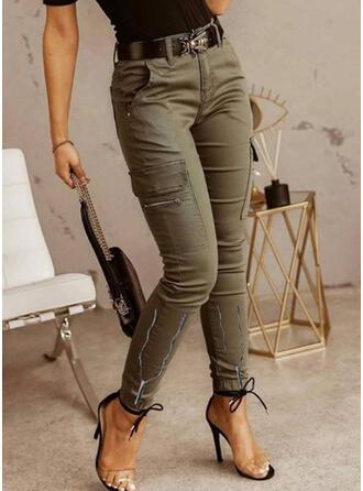 Solid Pockets Plus Size Casual Vintage Pants