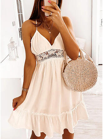 Lace/Solid/Backless/Hollow-out Sleeveless A-line Knee Length Sexy/Vacation Slip/Skater Dresses
