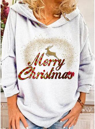 Dierenprint Figuur Lange Mouwen Kerst Sweatshirt