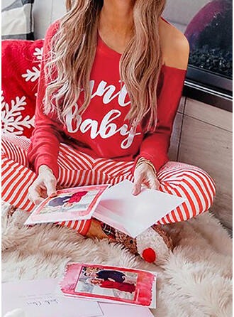 Striped Print Christmas Casual Sporty Suits