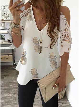 Print Lace Cold Shoulder 3/4 Sleeves Elegant Blouses