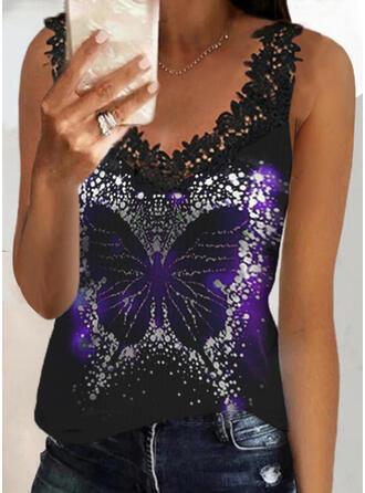 Print Animal Lace V-Neck Sleeveless Tank Tops