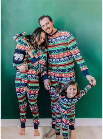 Spotprent Print Voor Gezinnen Kerst Pyjamas