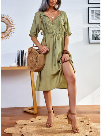 Solid 1/2 Sleeves A-line Knee Length Casual Skater Dresses