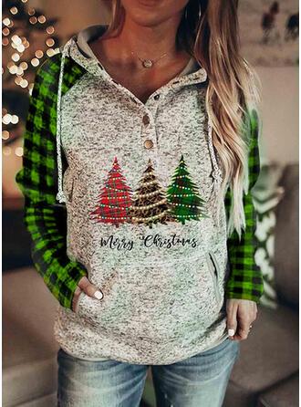 Christmas Print Leopard Plaid Letter Long Sleeves Christmas Sweatshirt