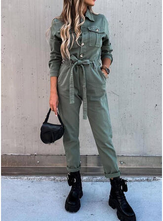 Solid Shirt collar Long Sleeves Casual Jumpsuit