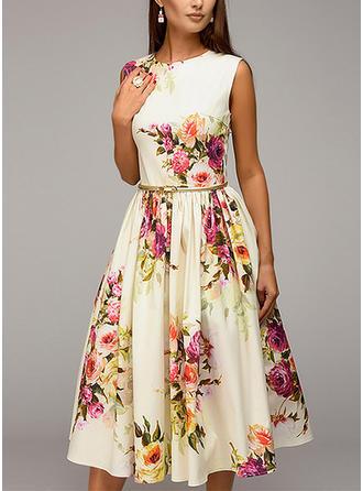 Print/Floral Sleeveless A-line Knee Length Elegant Skater Dresses